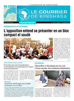 Les Dépêches de Brazzaville : Édition le courrier de kinshasa du 01 octobre 2018