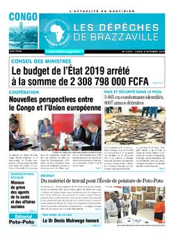 Les Dépêches de Brazzaville : Édition brazzaville du 08 octobre 2018