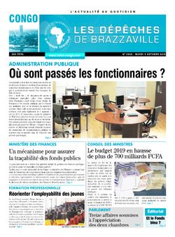 Les Dépêches de Brazzaville : Édition brazzaville du 09 octobre 2018
