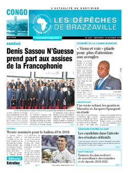 Les Dépêches de Brazzaville : Édition brazzaville du 10 octobre 2018