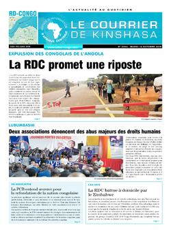 Les Dépêches de Brazzaville : Édition le courrier de kinshasa du 16 octobre 2018