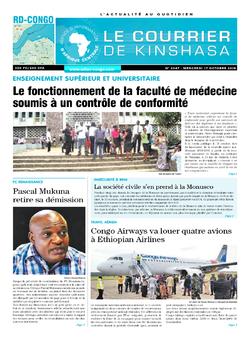 Les Dépêches de Brazzaville : Édition le courrier de kinshasa du 17 octobre 2018