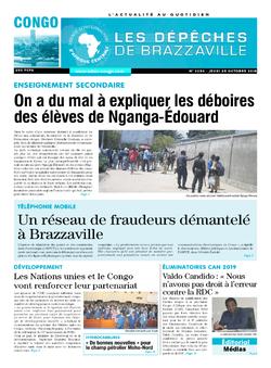 Les Dépêches de Brazzaville : Édition brazzaville du 25 octobre 2018