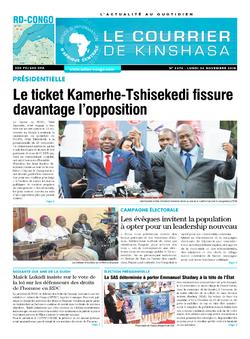 Les Dépêches de Brazzaville : Édition le courrier de kinshasa du 26 novembre 2018