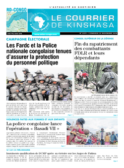 Les Dépêches de Brazzaville : Édition le courrier de kinshasa du 30 novembre 2018