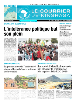 Les Dépêches de Brazzaville : Édition le courrier de kinshasa du 12 décembre 2018
