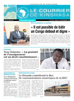 Les Dépêches de Brazzaville : Édition brazzaville du 10 septembre 2019