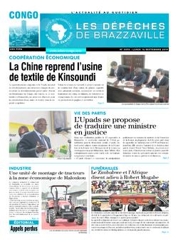 Les Dépêches de Brazzaville : Édition brazzaville du 16 septembre 2019