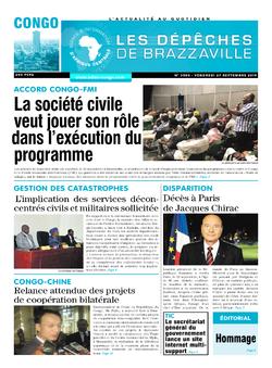 Les Dépêches de Brazzaville : Édition brazzaville du 27 septembre 2019