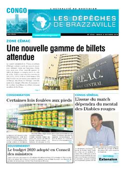 Les Dépêches de Brazzaville : Édition brazzaville du 08 octobre 2019