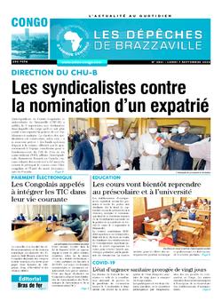 Les Dépêches de Brazzaville : Édition brazzaville du 07 septembre 2020