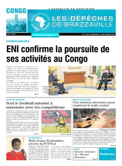 Les Dépêches de Brazzaville : Édition brazzaville du 02 octobre 2020