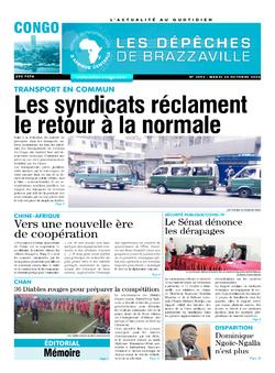 Les Dépêches de Brazzaville : Édition brazzaville du 20 octobre 2020